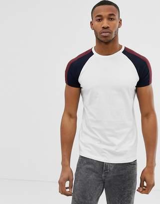 Bershka raglan t-shirt in white with stripes