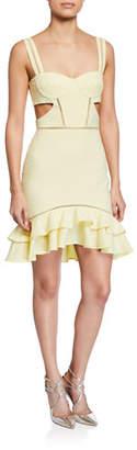 Jonathan Simkhai Seersucker Gingham Cutout Flounce Mini Dress
