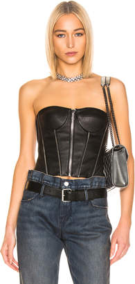 RtA Victoria Leather Bustier Top in Nightlife 2 | FWRD