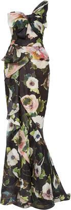 Marchesa Floral Printed Silk-Moire Peplum Gown