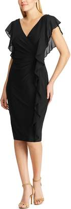 Chaps Women's Gathered Ruffle-Sleeve Faux Wrap Dress