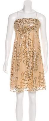 Blumarine Sequin-Embellished Cocktail Dress Tan Sequin-Embellished Cocktail Dress