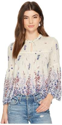 Lucky Brand Border Print Peasant Top Women's Long Sleeve Pullover