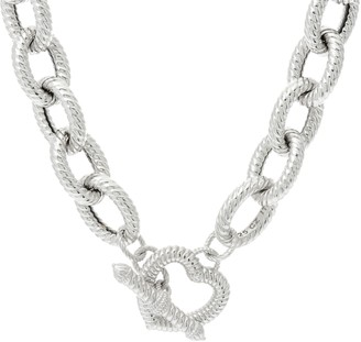 "Judith Ripka 20"" Sterling Verona Heart Clasp Necklace 124.0g"