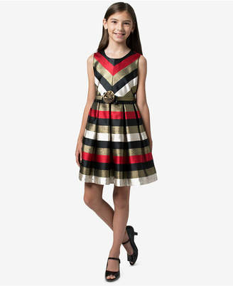 Bonnie Jean Big Girls Metallic Jacquard Striped Dress