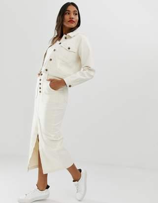 Off-White ASOS DESIGN Denim Premium midi skirt with button front in