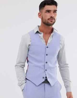 Hatch Asos Design ASOS DESIGN wedding skinny suit vest in lilac cross