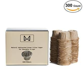 Keurig 300 Disposable Natural Brown Coffee Filter Paper for Reusable Single Serve Brewer 1.0 and 2.0 - Refills for Reusable K-Cups - Marume Mie Cup MF-NB300