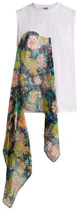 MSGM Floral Print Asymmetric Draped Top - Womens - White Multi