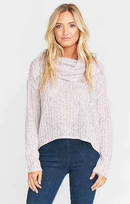 Show Me Your Mumu I Like Turtleneck Crop ~ Icy Lavender Chunky Rib