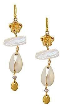 Chan Luu Women's 2MM Champagne Pearl, Moonstone & Cowry Shell Dangle Earrings