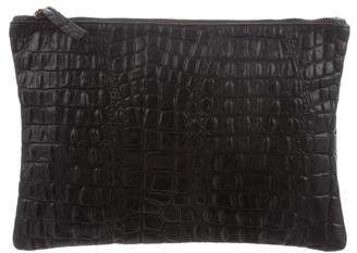 Clare Vivier Embossed Leather Flat Clutch