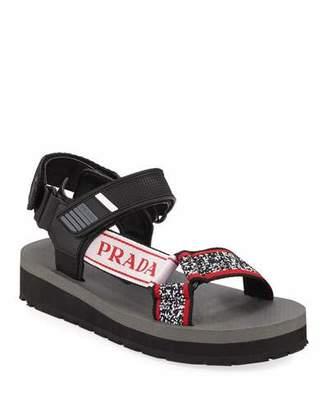Prada Trek Printed Grip-Strap Sandals
