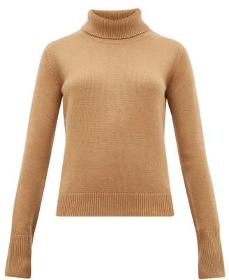 Joseph Slashed Cuff Cashmere Roll Neck Sweater - Womens - Camel