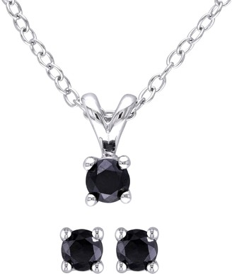 Black Diamond Affinity Diamond Jewelry Affinity Sterling 1/2cttw Earrings & Pendant Se