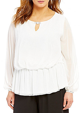 Alex Evenings Alex Evenings Plus Long Sleeve Keyhole Chiffon Blouse