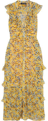 Saloni Lizzie Ruffled Floral-print Chiffon Maxi Dress - Yellow