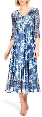 Komarov Floral Charmeuse & Chiffon Midi Dress