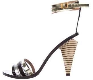 Fendi Metallic Ankle-Strap Sandals