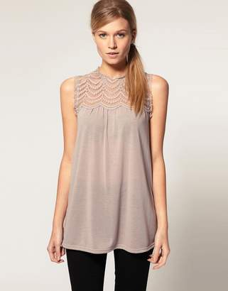 Asos Design Lace Panel Shell