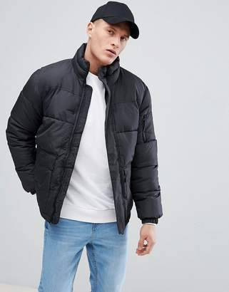 Bershka Puffer Jacket In Black