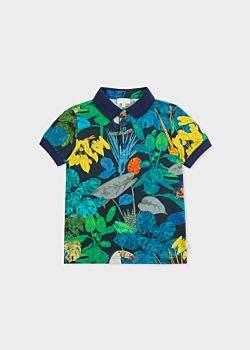 Boys' 8+ Years Navy 'Toucan Botanical' Print Polo Shirt