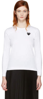 Comme des Garcons White Long Sleeve Heart Patch T-Shirt
