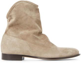 Jimmy Choo Light Khaki Mina Flat Suede Ankle Boots