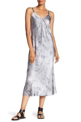 Vince Marbled Silk Midi Dress