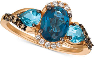LeVian Le Vian Chocolatier® Blue Topaz (2-1/6 ct. t.w.) & Diamond (1/6 ct. t.w.) Ring in 14k Rose Gold