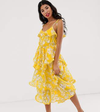 Dark Pink tiered frill midi dress in yellow floral
