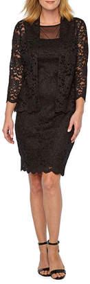 Onyx Nites 3/4 Sleeve Lace Jacket Dress