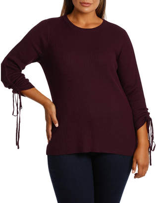 Sweater rouched sleeve