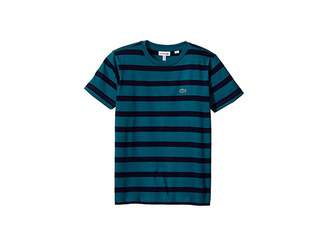 Lacoste Kids Short Sleeve Heathered Stripe Crew Neck Tee Shirt (Toddler/Little Kids/Big Kids)