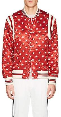 Ovadia & Sons Men's Star-Print Satin Bomber Jacket - Red