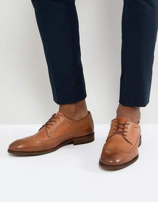 Zign Shoes Leather Brogue Lace Ups In Cognac
