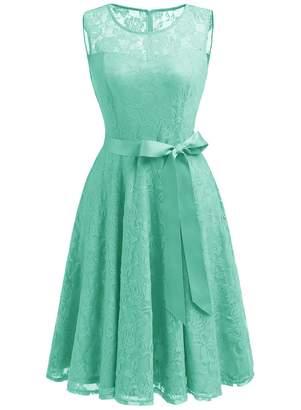Dressystar Women's Floral Lace Dress Short Bridesmaid Dresses with Sheer Neckline XL Grey