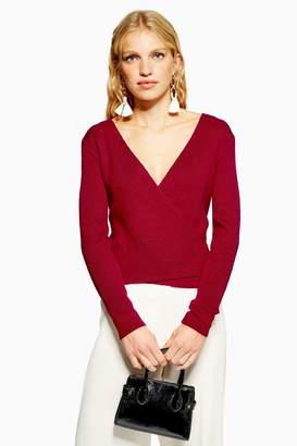 Topshop Ballet Wrap Jumper With Cashmere