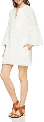 BCBGMAXAZRIA Adina Bell-Sleeve Front-Bib Dress $298 thestylecure.com
