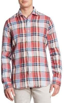 Saks Fifth Avenue COLLECTION Plaid Linen Shirt