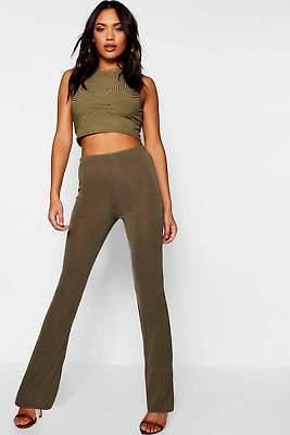 boohoo NEW Womens Ribbed Skinny Flared Trousers in Polyester 5% Elastane