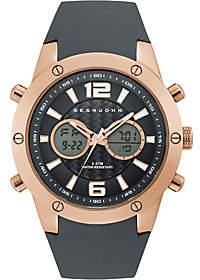 Sean John Men's Rosetone Analog Digital Black Silicone Watch