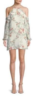 BCBGeneration Floral Cold-Shoulder Shift Dress