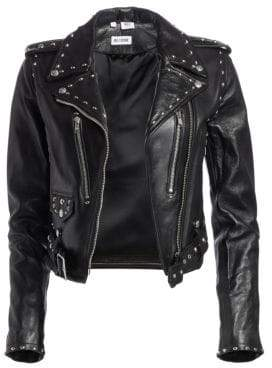RE/DONE The Studded Leather Cropped Moto Jacket