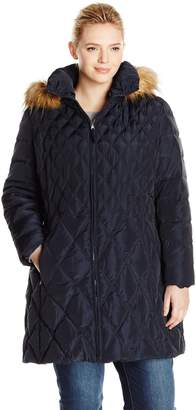 Jessica Simpson Outerwear Women's Plus-Size Mid-Length Diamond Quilted Down Coat Plus