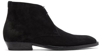 Saint Laurent Wyatt Suede Leather Ankle Boots. - Womens - Black