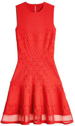 Alexander McQueen Embroidered Mini Dress with Tulle