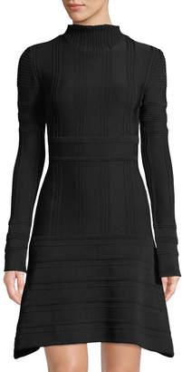 Leon Max Engineer-Striped Mock-Neck Dress