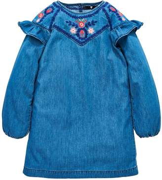 Very Girls Denim Embroidered Smock Dress