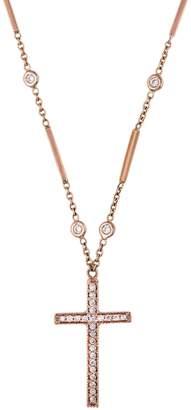 Jacquie Aiche Eight Bar Diamond Cross Necklace - Rose Gold